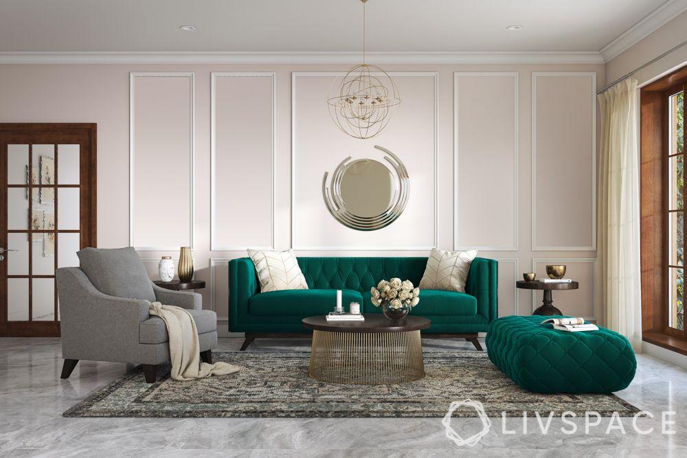 green sofa-grey armchair