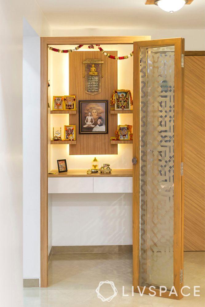 pooja room door designs with glass and wood-etched glass door