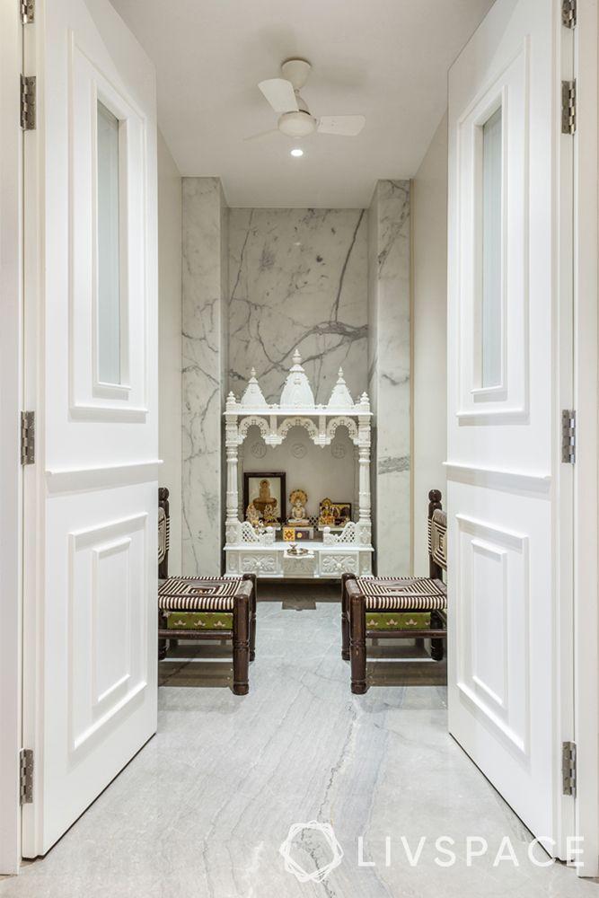 pooja room door design-white marble pooja room