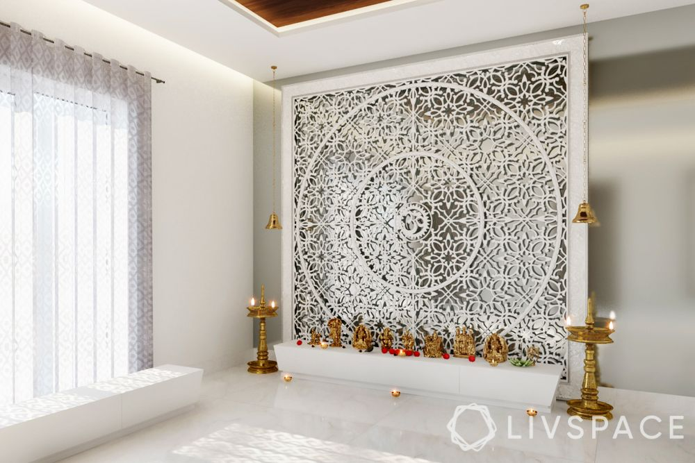 pooja room design-carved wood