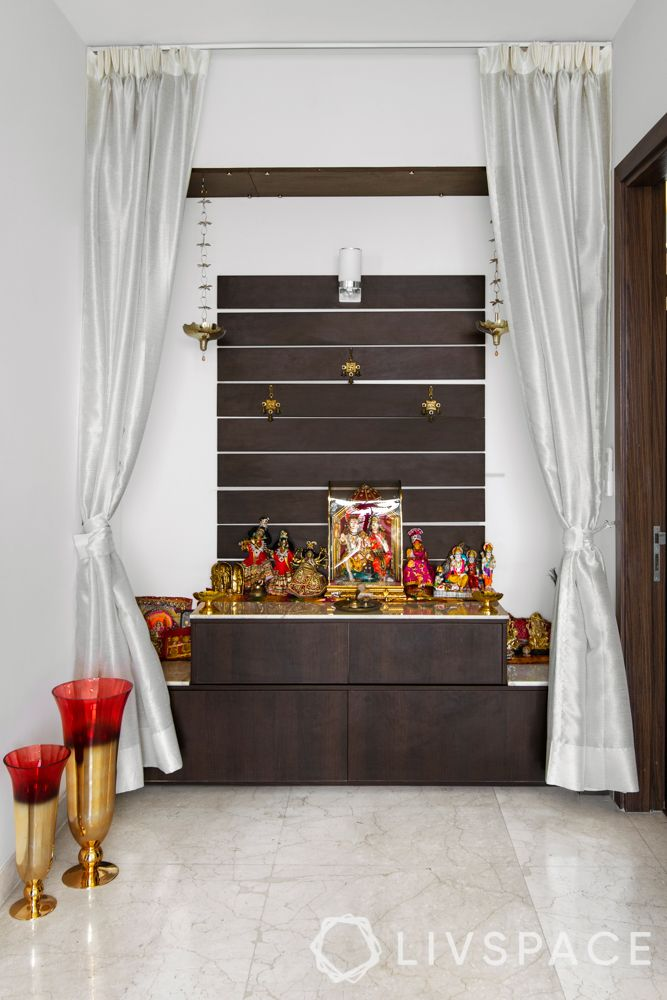 pooja room design-wooden-wall panel-open style-front view