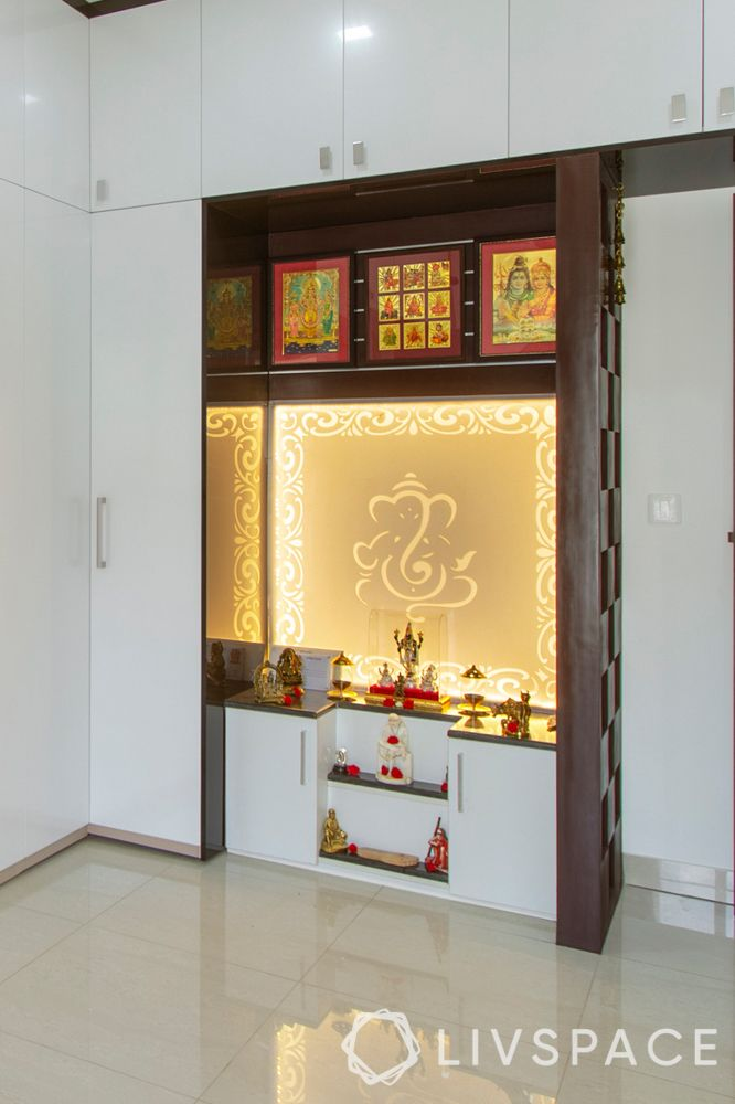 pooja room design-wooden niche-backlight