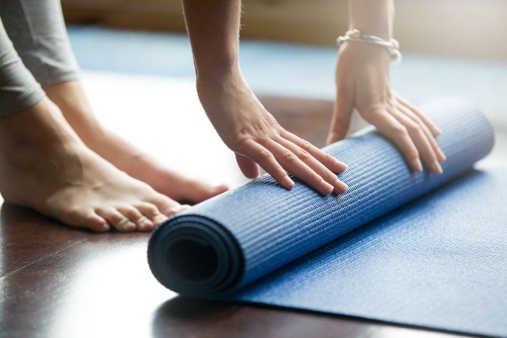 yoga mat-wooden floor