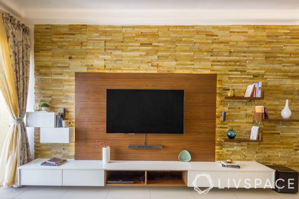 tv unit-stone cladding wall