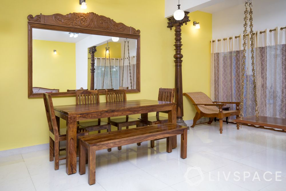 vastu shastra for house_mirror_dining room_wooden dining table_yellow wall