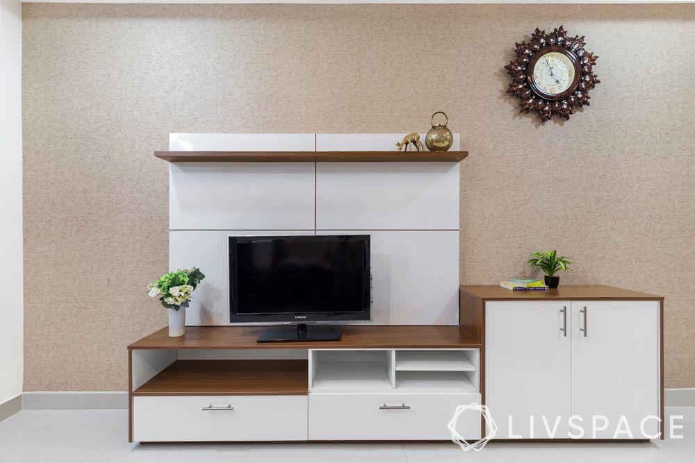 best budget interior designers in hyderabad-laminate TV unit-custom back panel-modular storage