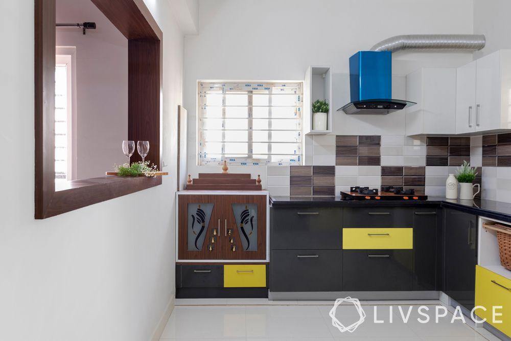 best budget interior designers in hyderabad-custom mandir-laminate-ganesha motifs-storage-vastu