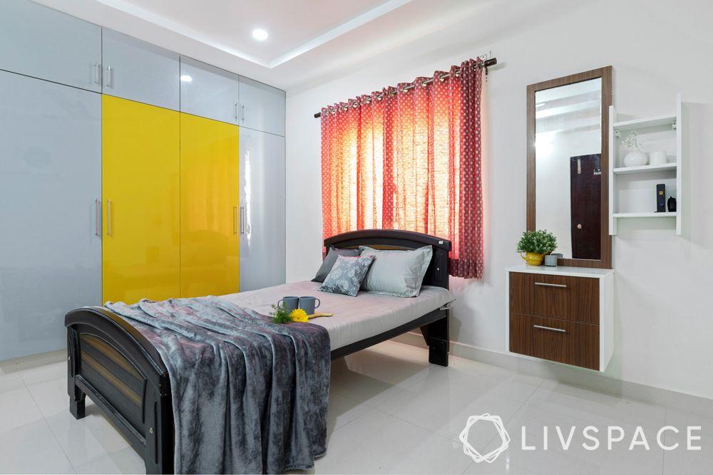 hyderabad interior design-bedroom-laminate wardrobe-dresser unit with storage
