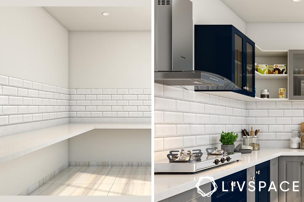 semi modular kitchen-blue kitchen