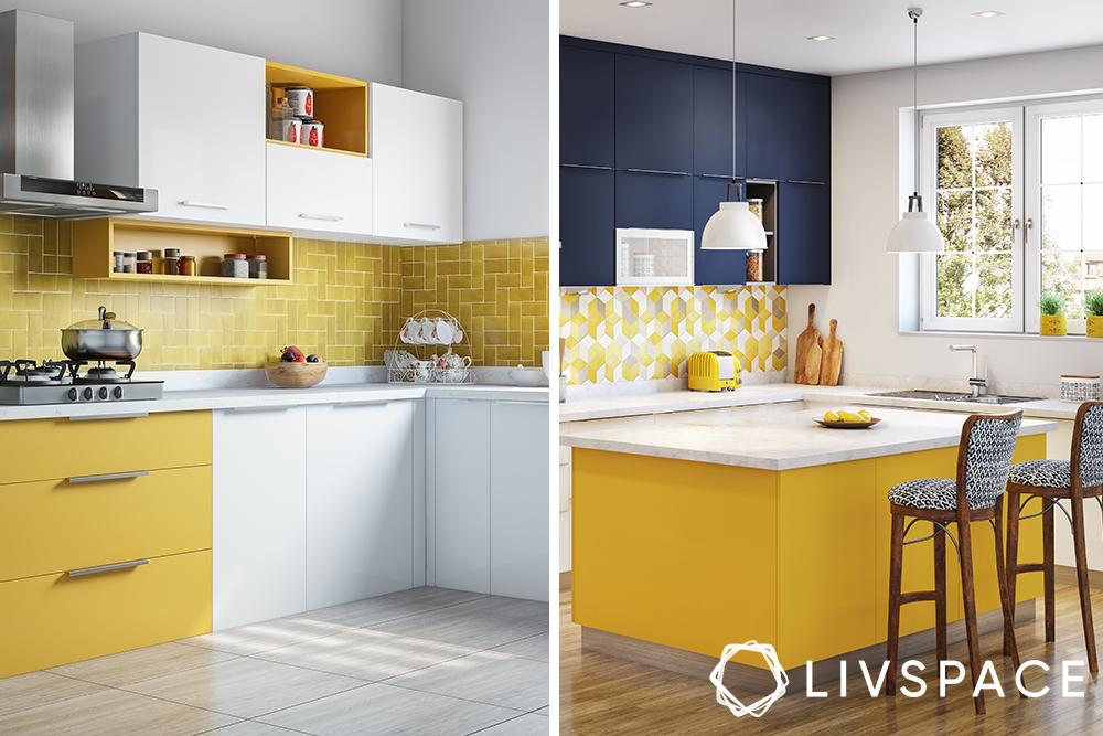 semi modular kitchen-yellow kitchen-island kitchen