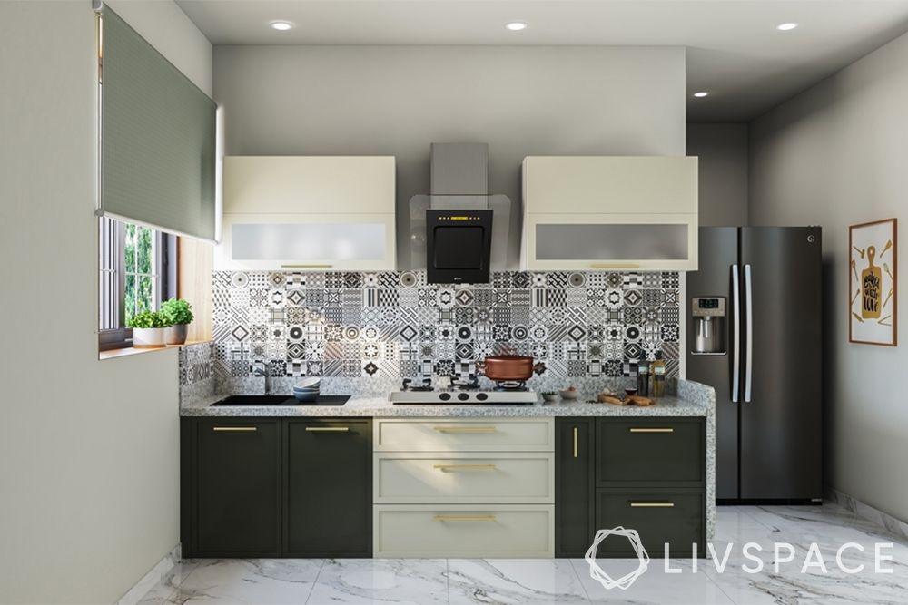 semi modular kitchen-two toned kitchen