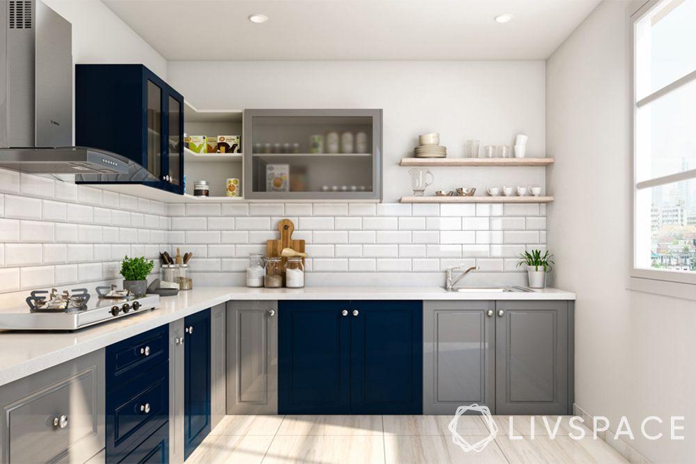 l shaped kitchen-blue kitchen