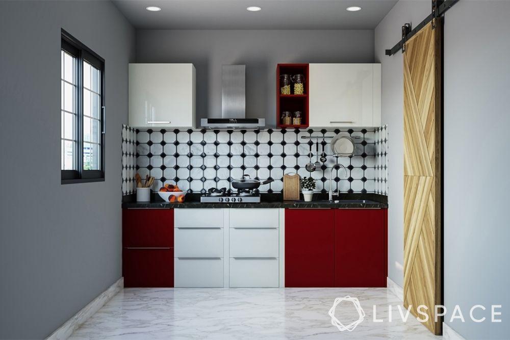red kitchen-small kitchen