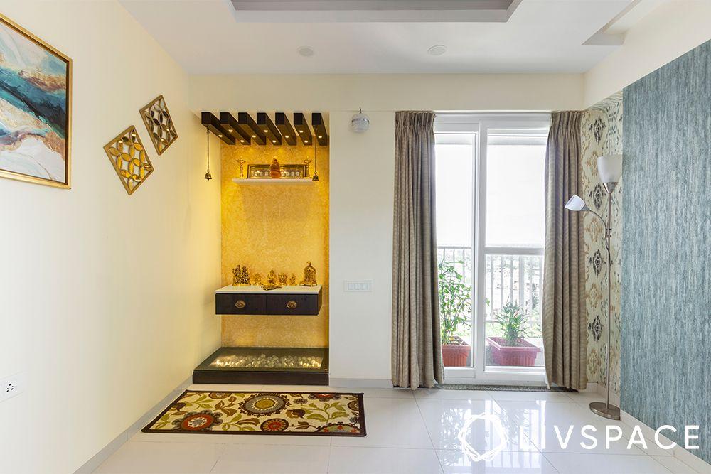 golden pooja room-pooja altar in living room
