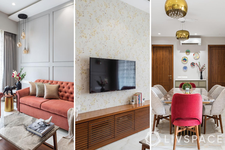 3 bhk room interior design-transitional style-pastel sofa