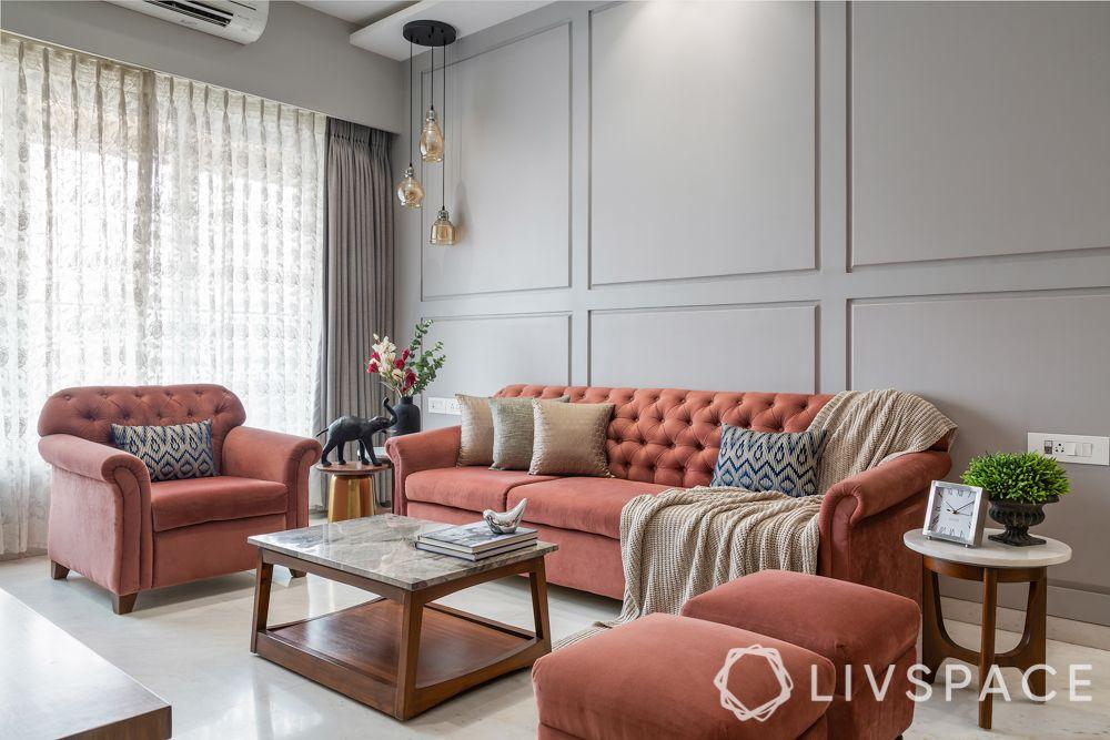 3 bhk room interior design-pastel sofa-grey walls