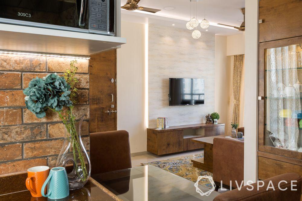 brick wall-living room design