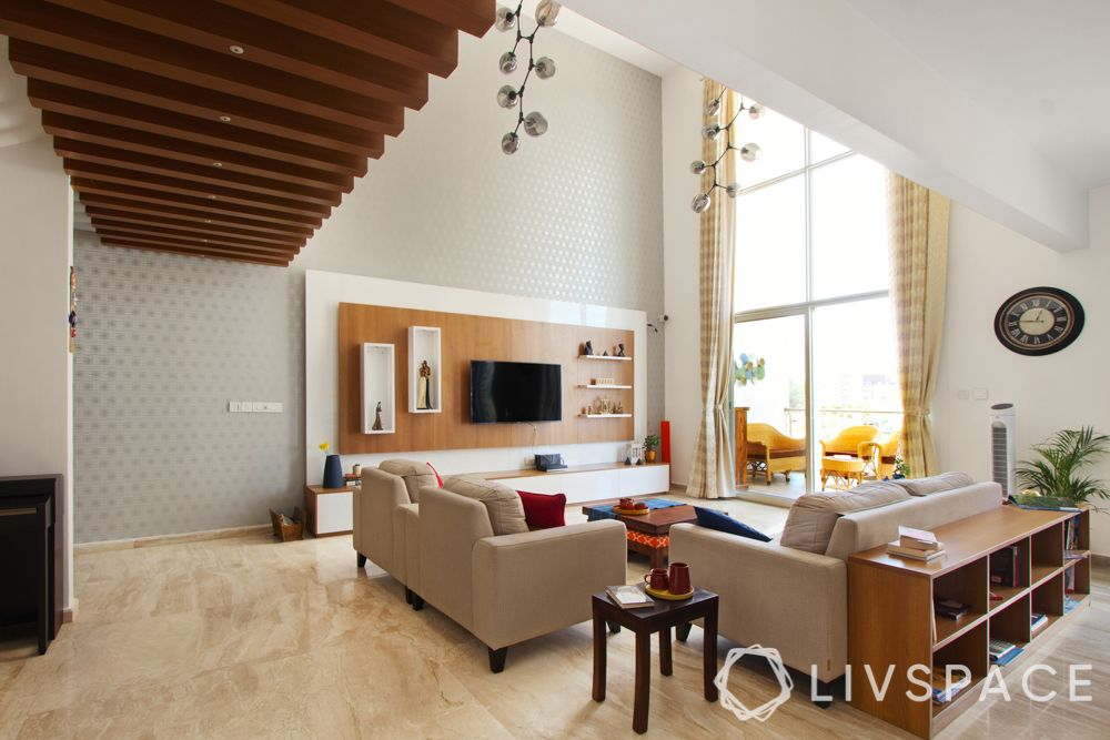wooden rafters-living room design