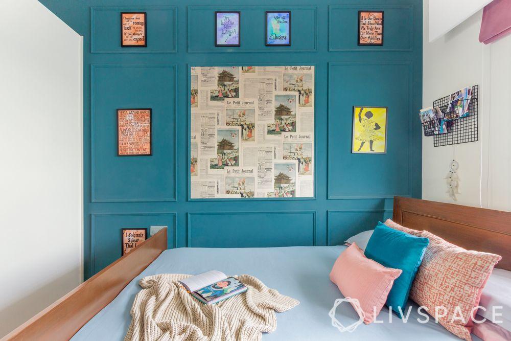blue wall-harry potter themed bedroom