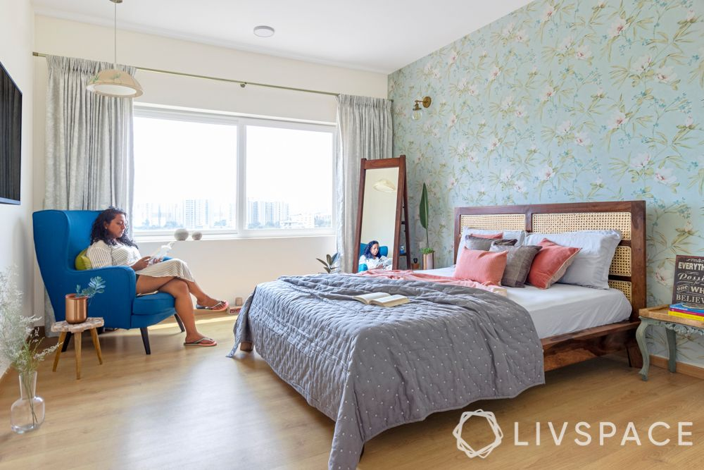 blue wallpaper-floral wallpaper-interior house