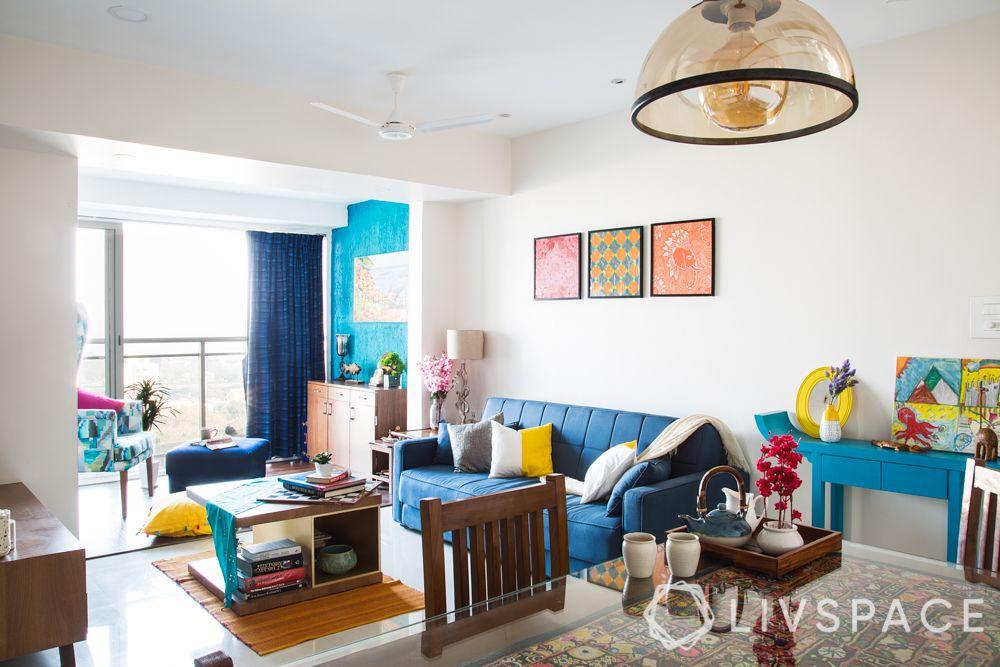 blue sofa-blue wall-reading corner