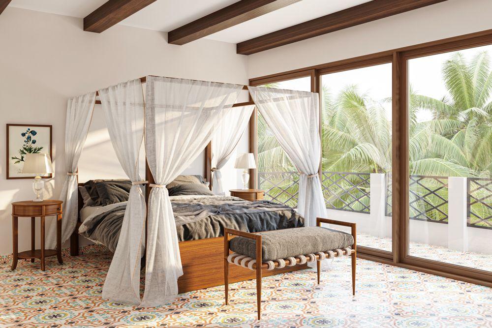 goa villas-wooden rafters in ceiling