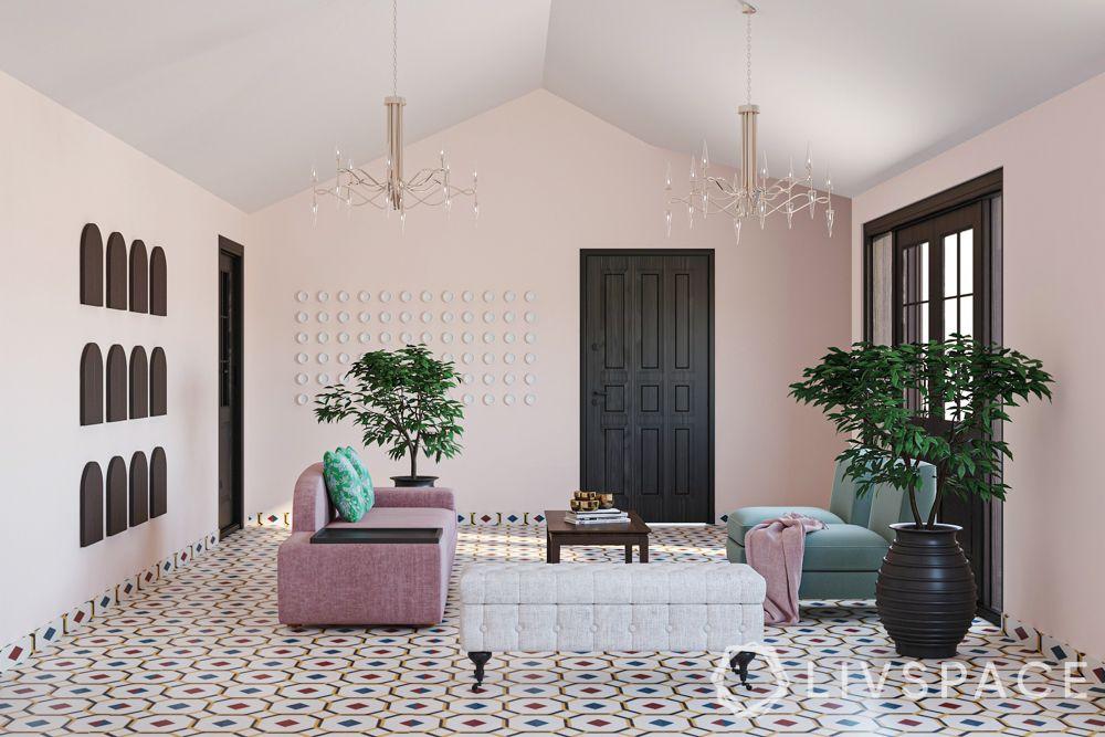 goa villas-pink walls-flooring designs