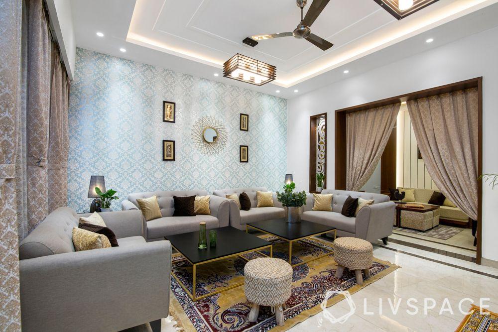 drawing rooms-grey sofa-blue wallpaper