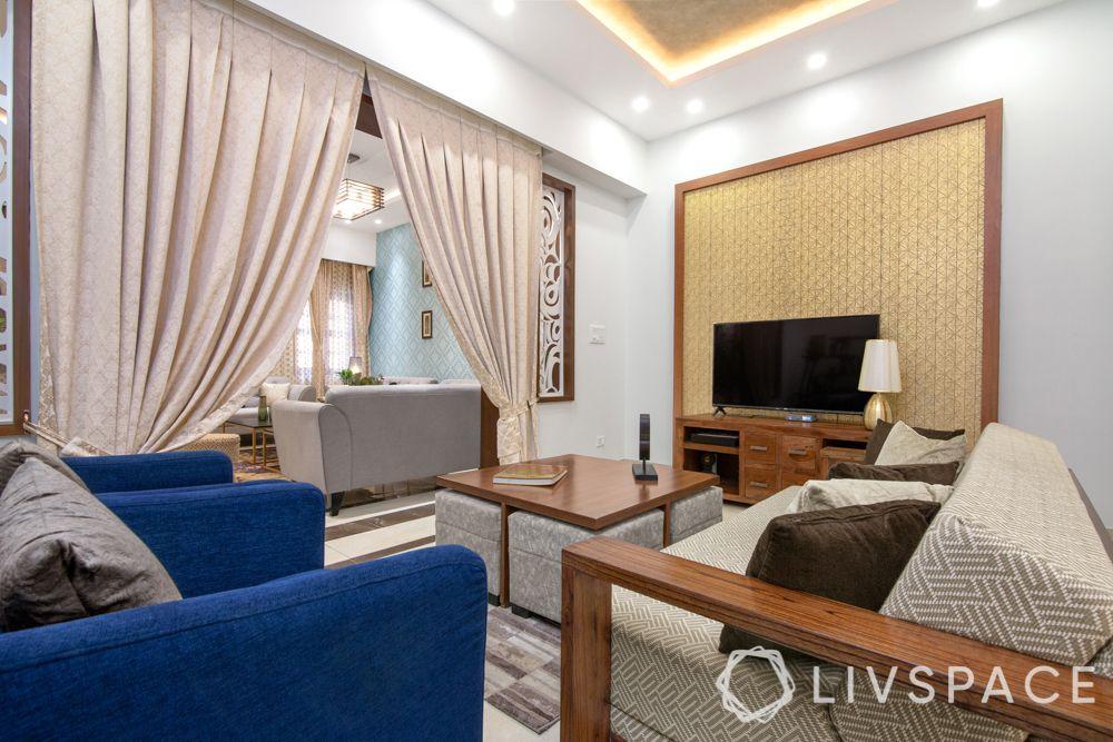 living room-blue sofa