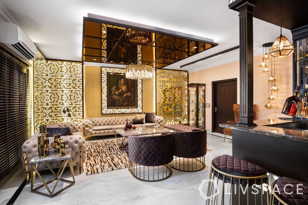 drawing rooms-beige sofa-glass decor-bar unit