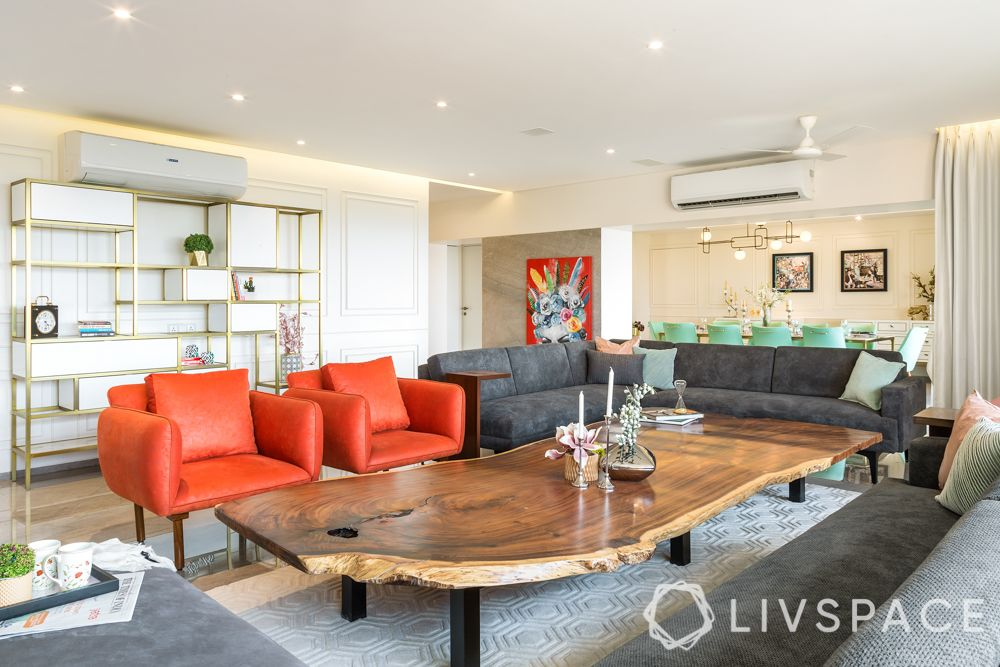 drawing rooms-orange armchairs-grey sofa
