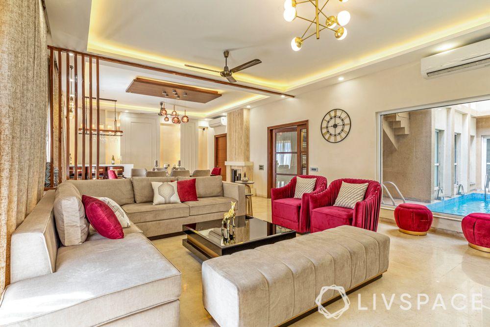red sofa-swimming pool