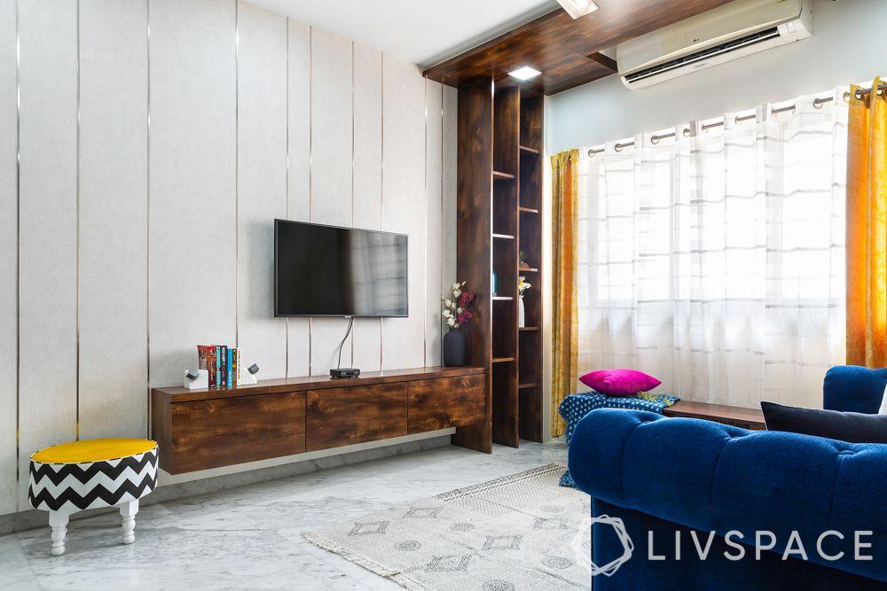 modern contemporary interior design-living room-TV unit-shelf