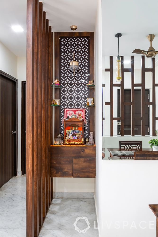 contemporary interior designer-mandir unit-wooden mandir-pooja unit in a nook