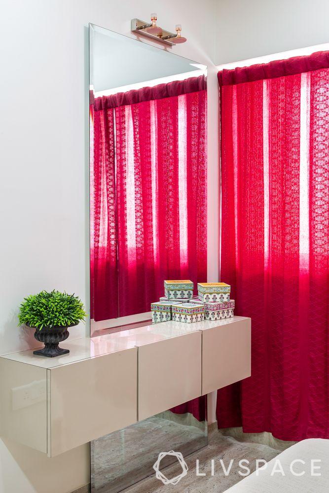 modern contemporary interior design-dresser unit-pink curtains