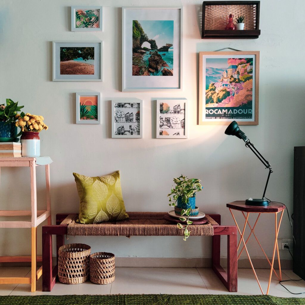 craft ideas for home decor-frames on wall-bench-cushion-light-plant