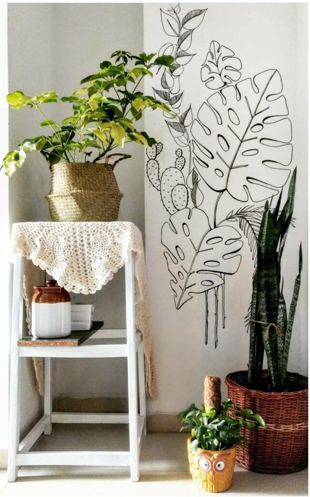 craft ideas for home decor-wall mural-planters