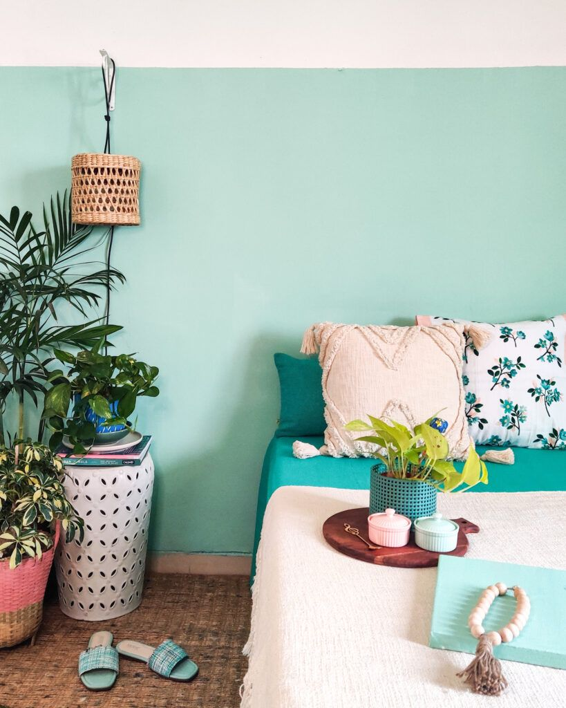 craft ideas for home decor-mint green wall-bed-planter