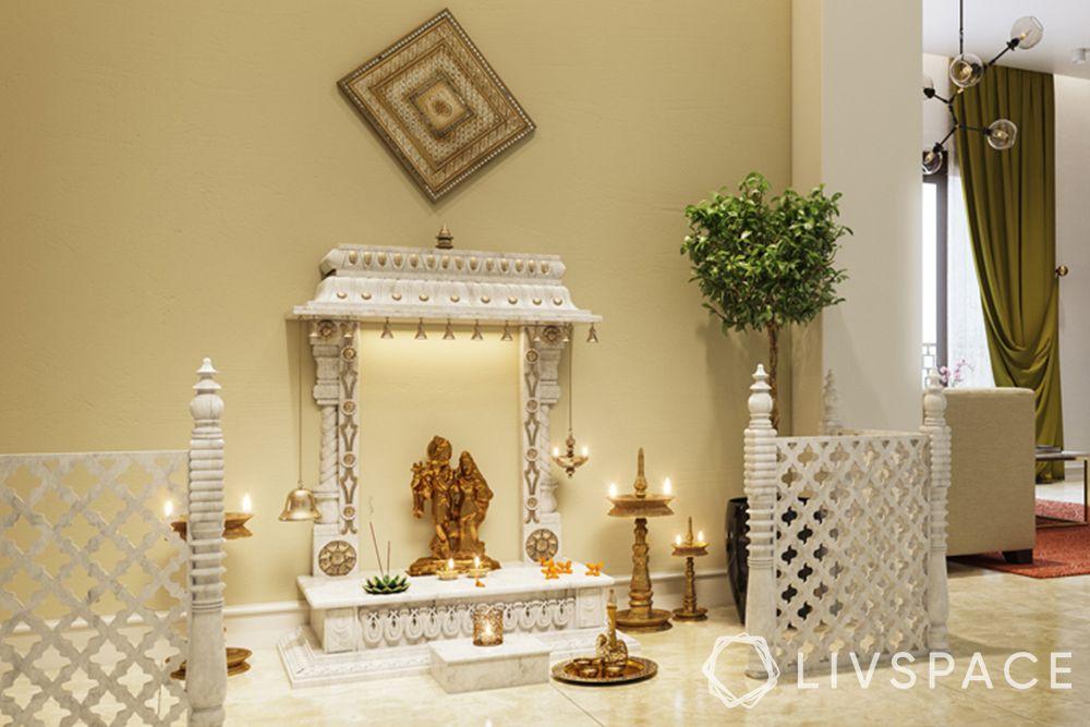 devghar design-white mandir-gate-diya