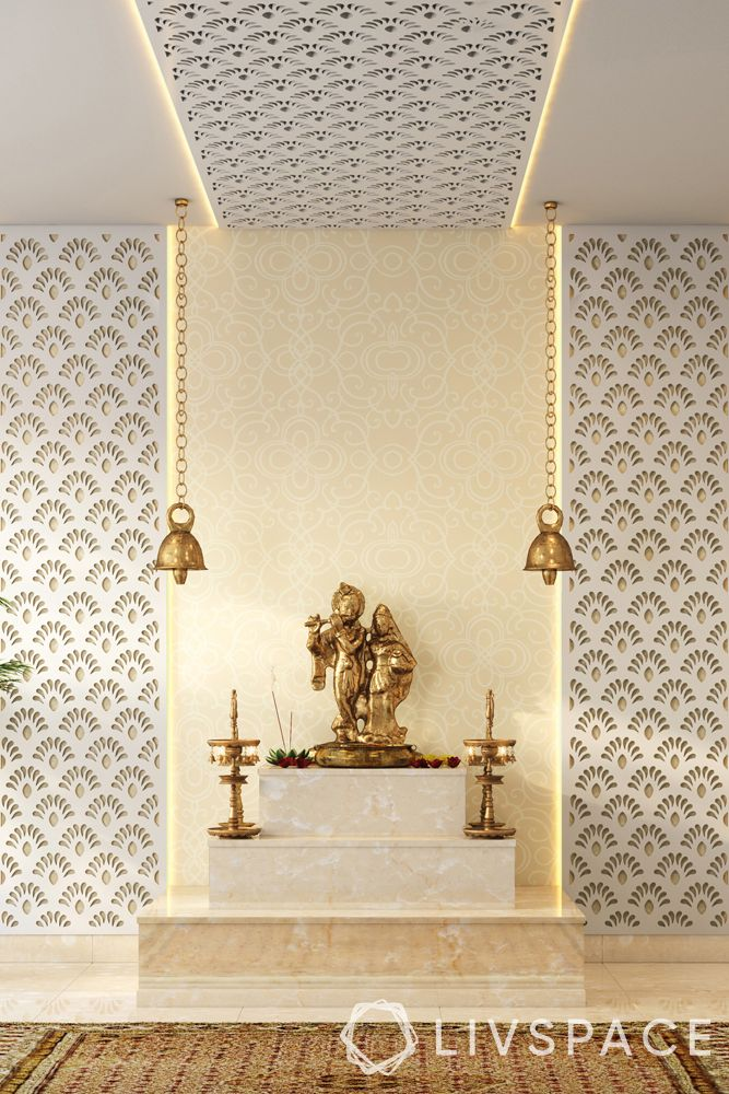 devghar design-white-pale yellow-hanging bells