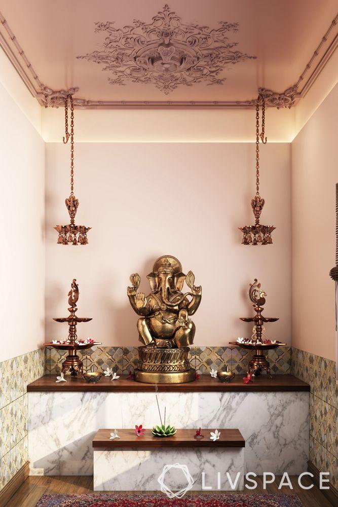 pooja unit-traditonal mandir-idol-diyas-bells