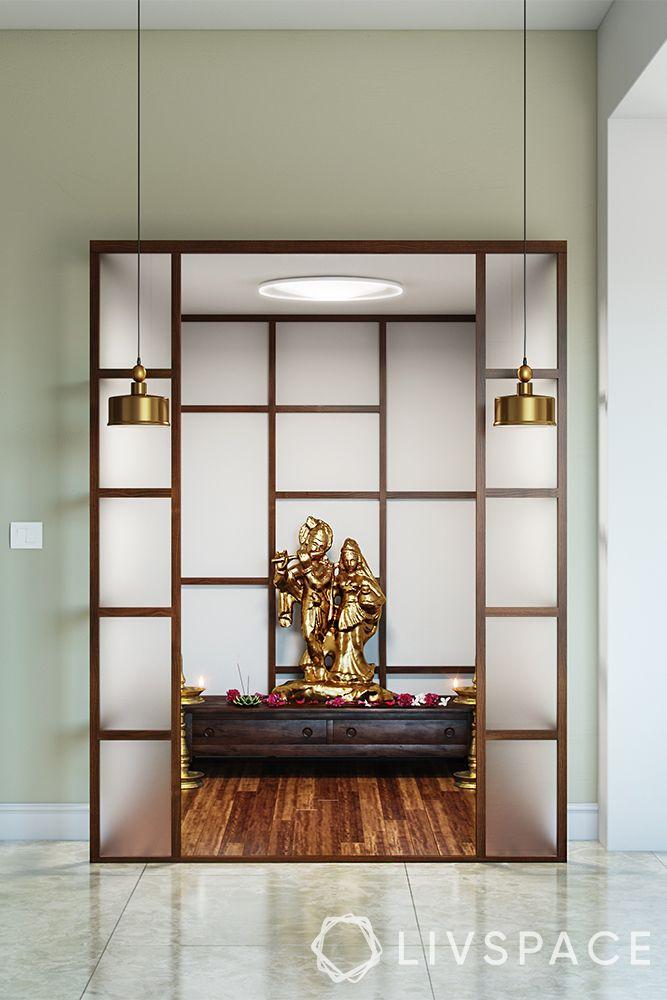 mandir unit-modern design-frosted glass
