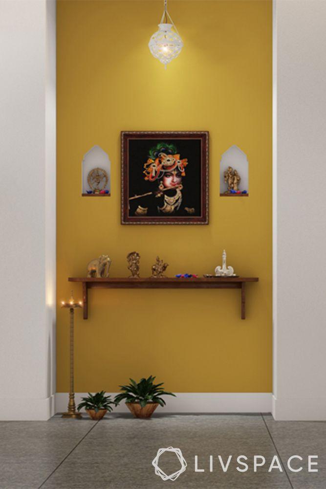pooja unit-vastu colours-yellow mandir
