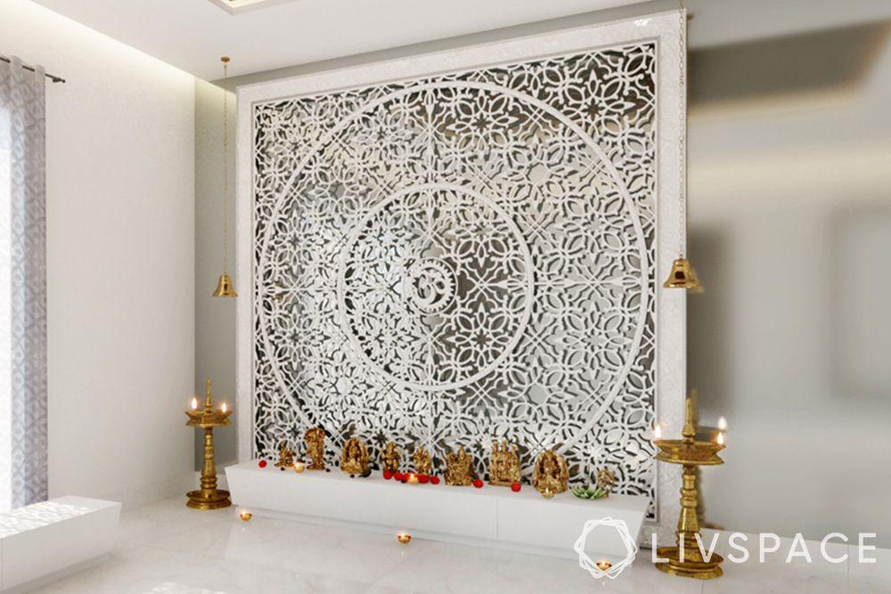 devghar design-pooja unit-marble backdrop-jaali