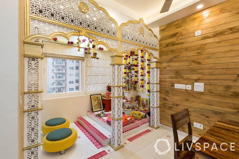 devghar design- traditional mandir-jaali gateway-seating