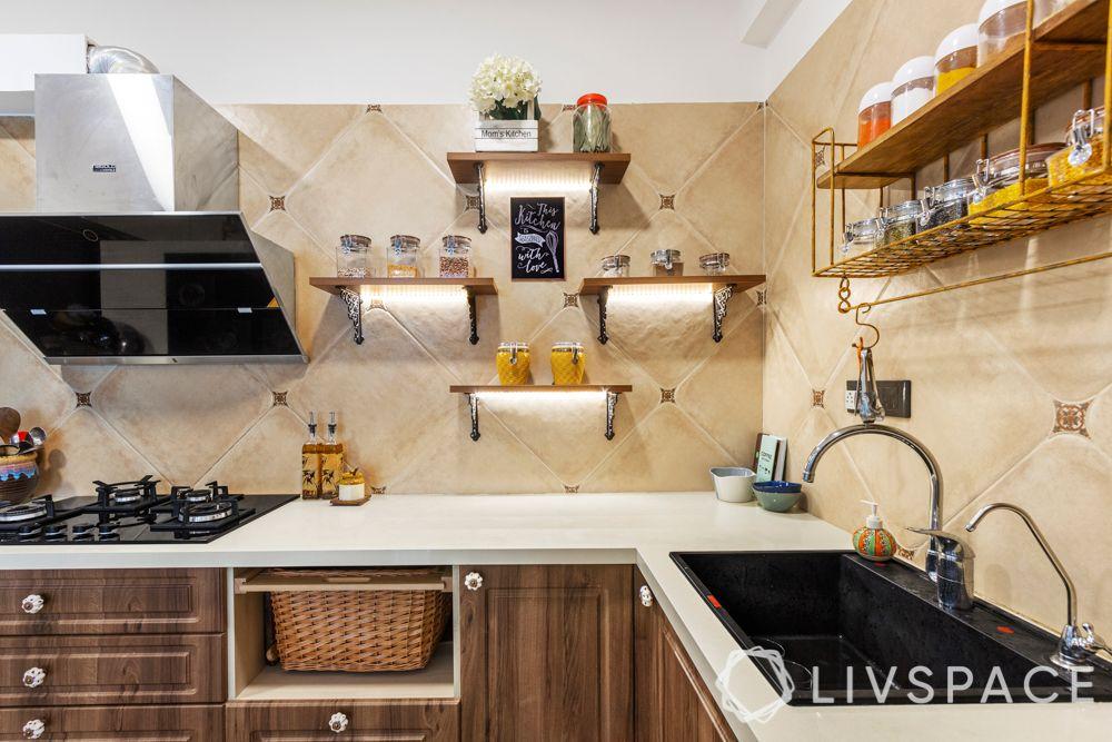 wooden kitchen-open storage in kitchen