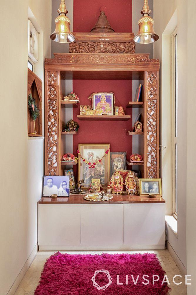 pooja unit-mandir in a corner-kashmiri motifs-seating