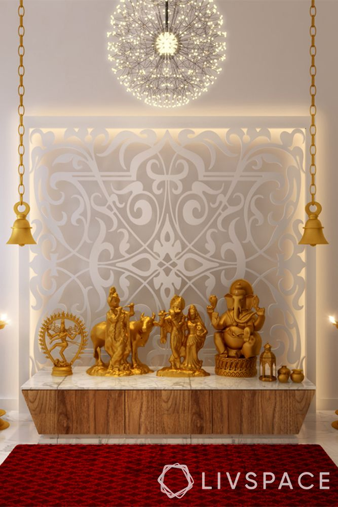 pooja unit-etched glass backpanel-chandelier