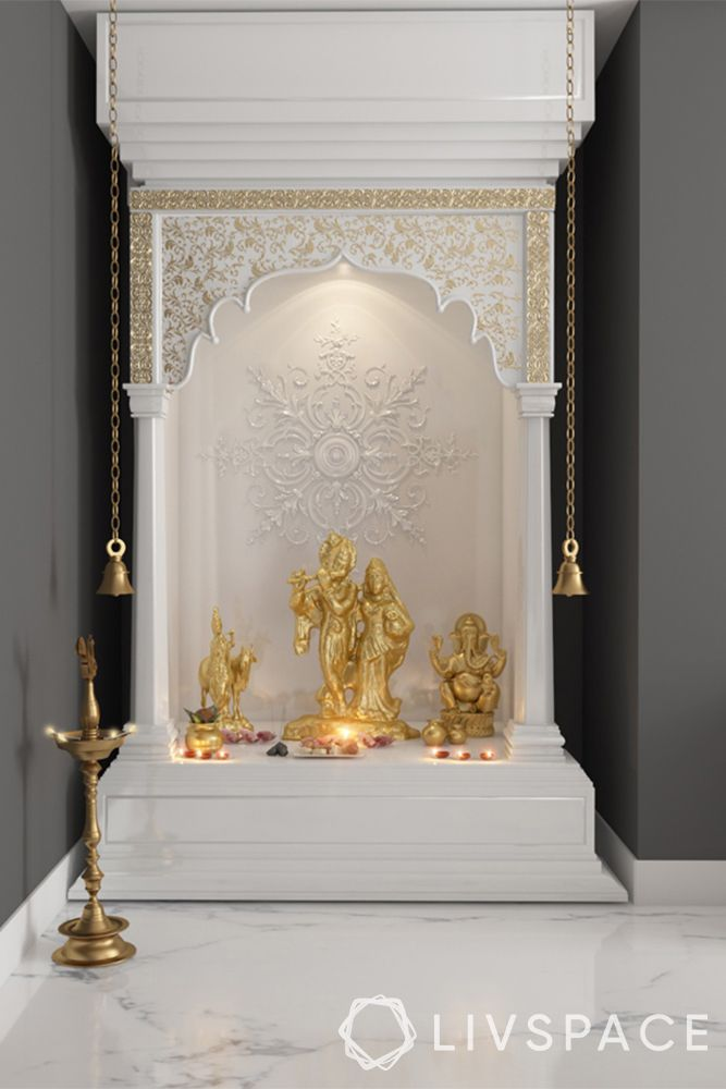 devghar design-white mandir-gold work