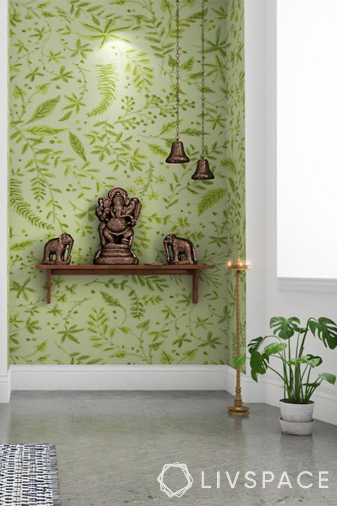 devghar design-green background-mandir